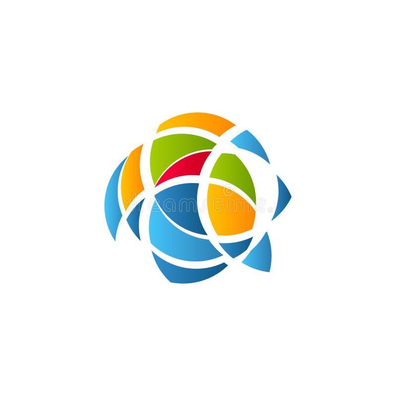 Kubismekunst logotype, het kleurrijke malplaatje van het gebrandschilderd glasvenster Geïsoleerd abstract decoratief embleem, hav vector illustratie