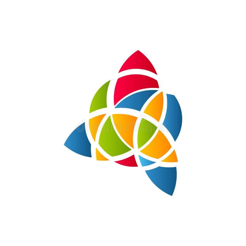 Kubismekunst logotype, het kleurrijke malplaatje van het gebrandschilderd glasvenster Geïsoleerd abstract decoratief embleem, hav royalty-vrije illustratie