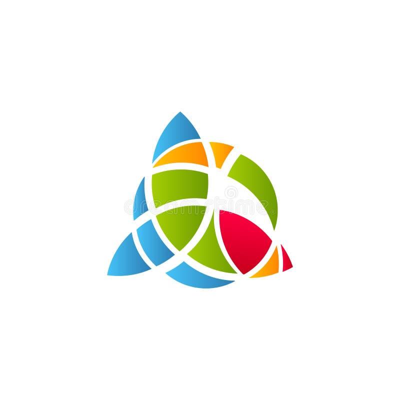 Kubismekunst logotype, het kleurrijke malplaatje van het gebrandschilderd glasvenster Geïsoleerd abstract decoratief embleem, hav stock illustratie
