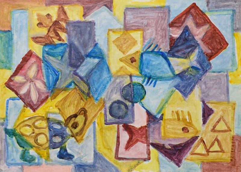 Kubistisk undervattens- världsmålning stock illustrationer