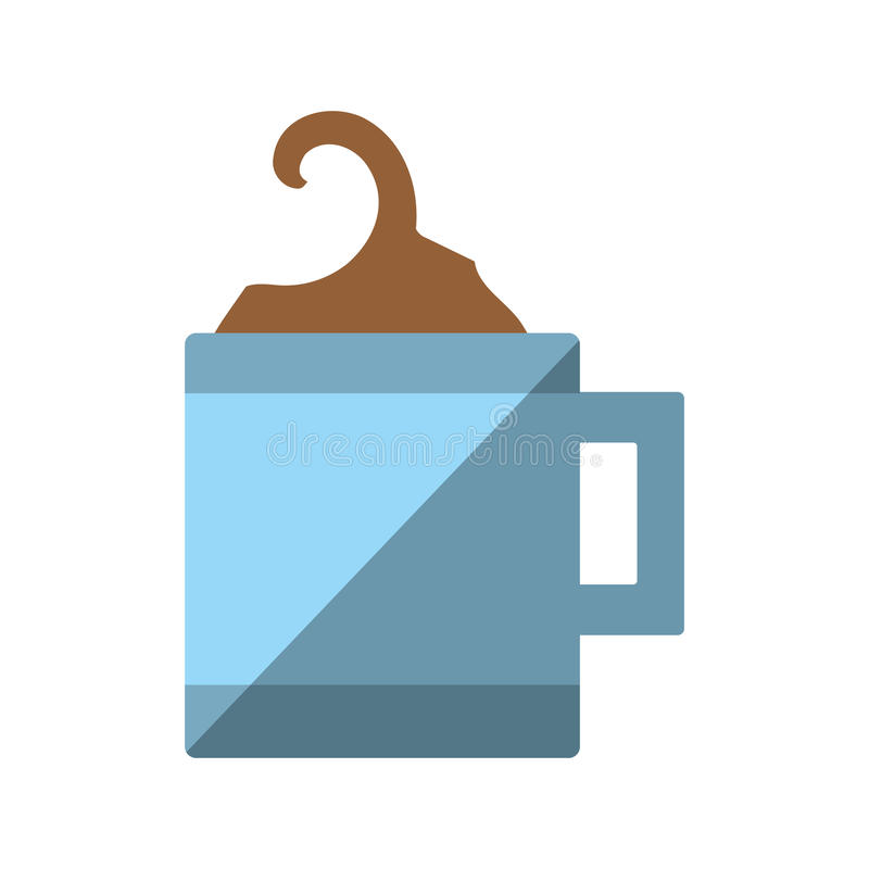 Kubka kawowy gorący z półkowym ikona cieniem ilustracja wektor