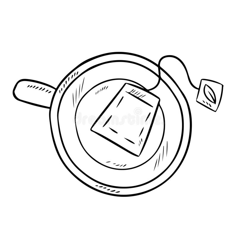 kubki zielonej herbaty Ręka rysujący kreskówka stylu zielonej herbaty torby napoju doodle royalty ilustracja