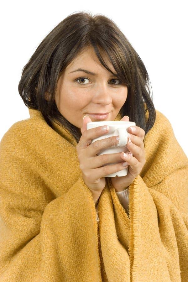 kubkiem gorącej chora kobieta fotografia royalty free
