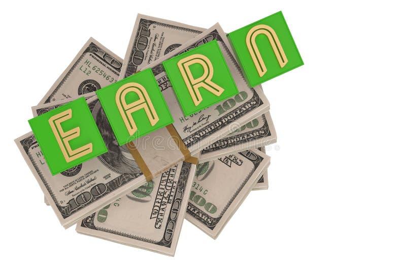 Kubordet tj?nar och dollar som isoleras p? den vita illustrationen f?r bakgrund 3D stock illustrationer