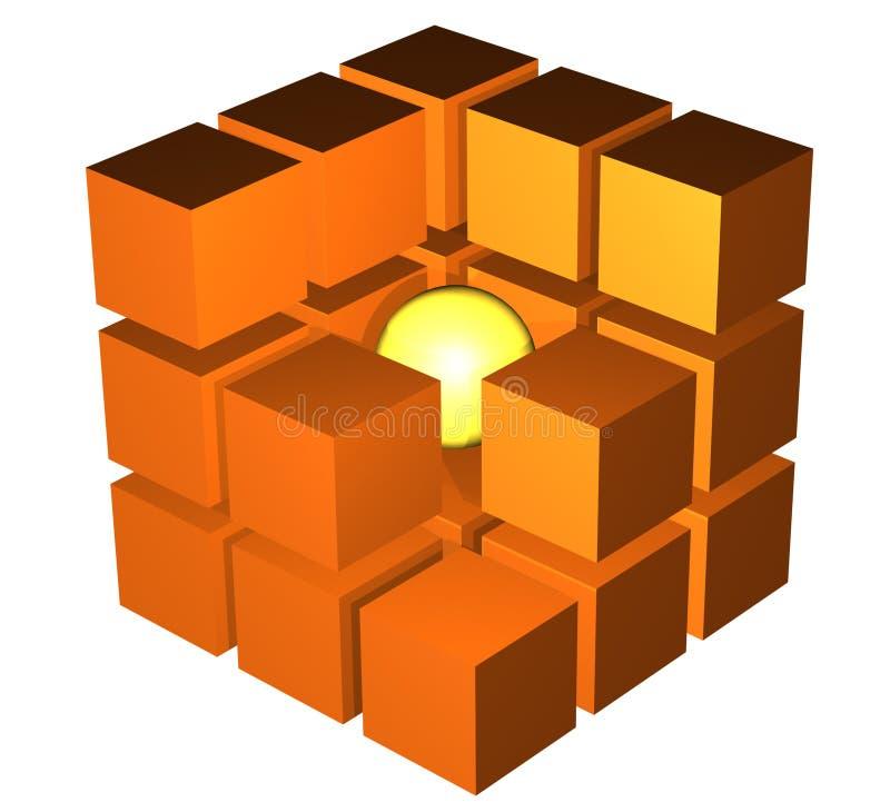 Kubus in een besnoeiing vector illustratie