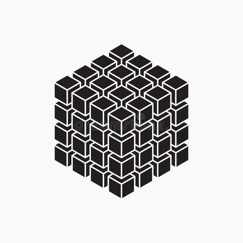 Kubus, geometrisch element stock illustratie