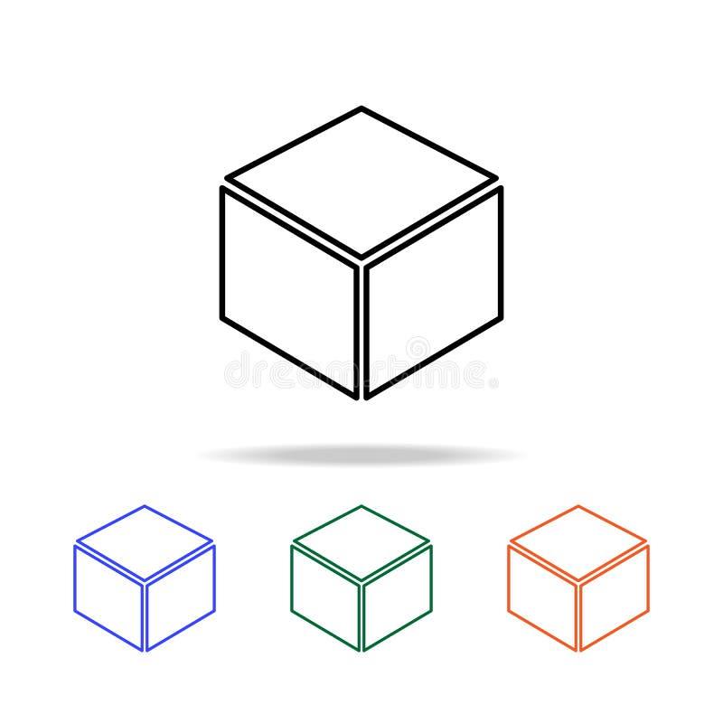 kubus in lagenpictogram Elementen van eenvoudig Webpictogram in multikleur Grafisch het ontwerppictogram van de premiekwaliteit E vector illustratie