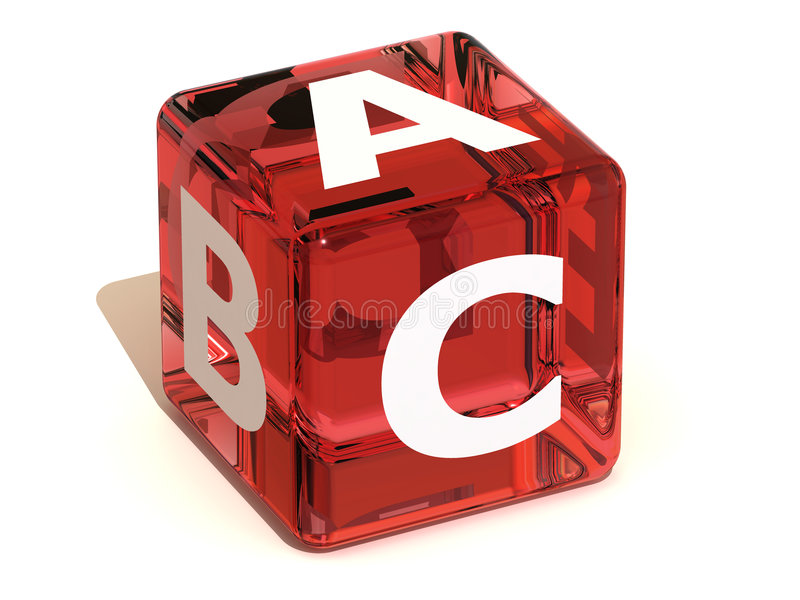 Kubus met ABC. Alfabet stock illustratie