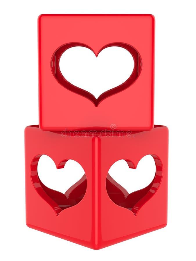 Download Kubus met harten stock illustratie. Illustratie bestaande uit symbool - 29509724