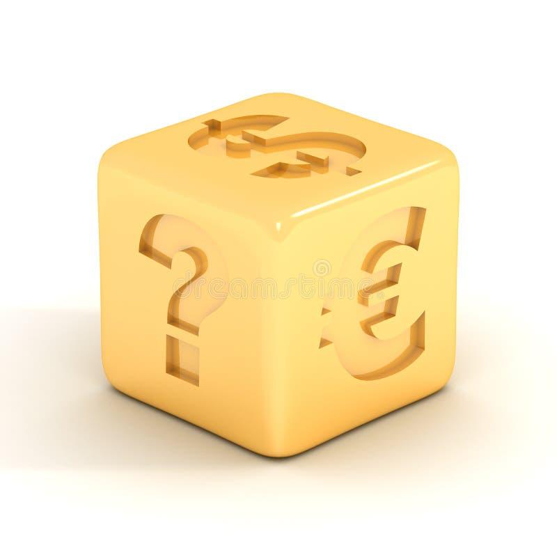 Kubus met munttekens. vector illustratie