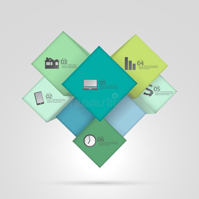 Kubusdoos voor bedrijfsconcepten, malplaatje Infographic, Webontwerp Vector illustratie royalty-vrije illustratie