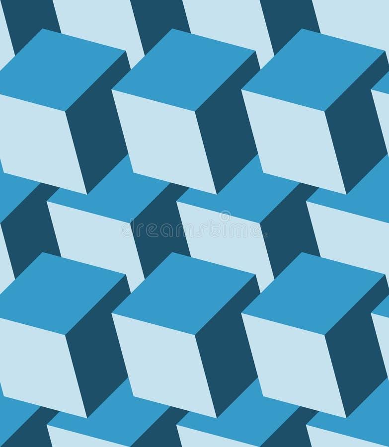Kubussen 3d naadloos patroon Zwart-wit blauwe achtergrond stock illustratie