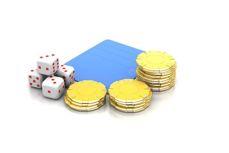 Kubussen en gouden muntstuk stock illustratie