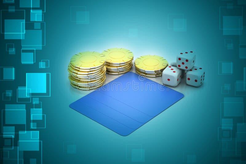 Kubussen en gouden muntstuk vector illustratie