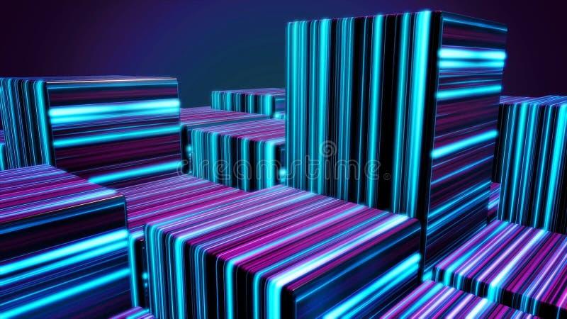 Kubussen in neonlijnen Abstracte heldere neonkubussen Abstracte animatie met het bewegen van kubieke cijfers in ruimte op dark royalty-vrije illustratie