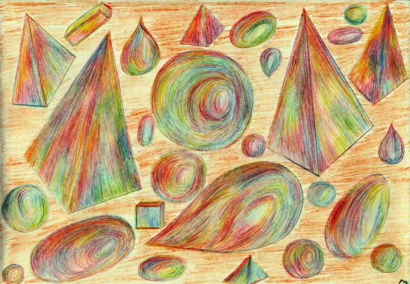 Kubussen, ovalen, piramides stock afbeeldingen