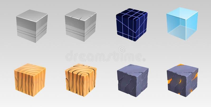 Kubussen van vele materialen Kunstillustratie vector illustratie