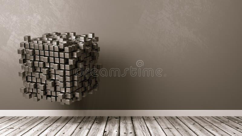 Kubussensamenvoeging in de Zaal stock illustratie