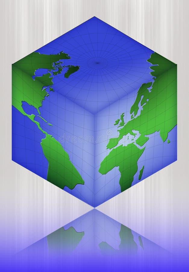 kubvärld, översikt, värld-gegga stock illustrationer