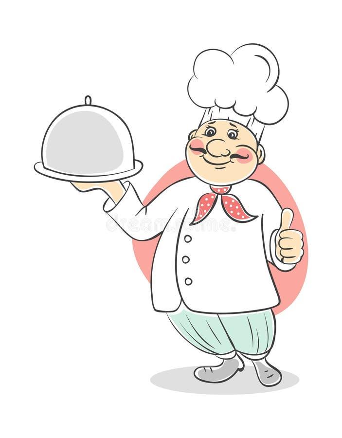 kucbarscy szef kuchni mężczyzna ilustracja wektor
