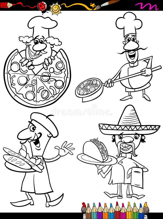 Kucbarscy szefowie kuchni ustawiają kreskówki kolorystyki książkę ilustracji
