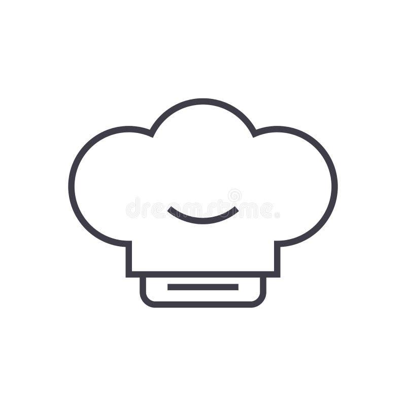 Kucbarska kapeluszowa wektor linii ikona, znak, ilustracja na tle, editable uderzenia ilustracja wektor