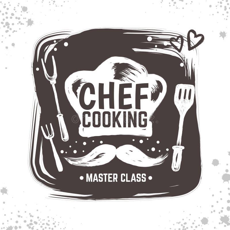 Kucbarski doodle logo Restauracyjny nakreślenie plakat, karmowa czarna odznaka z kuchni narzędziami i elementy, Wektorowa typogra ilustracja wektor