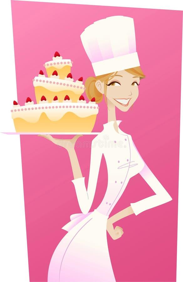 Kucbarski dziewczyny mienia tort ilustracji