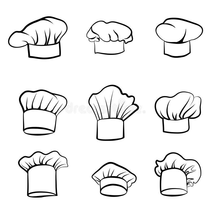 Kucbarski kapelusz Patroszony kapeluszowy szefa kuchni kucharz Kapeluszowa kuchenka Wektorowy czarny kapelusz ilustracji