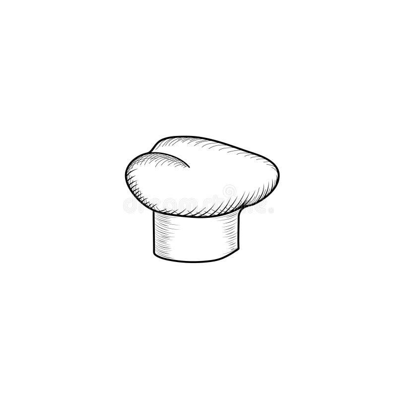 Kucbarski kapelusz Patroszony kapeluszowy szefa kuchni kucharz Kapeluszowy kuchenki rytownictwa znak ilustracji