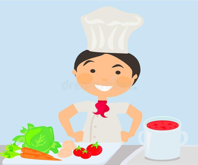 Kucbarski kucharstwo na kuchni royalty ilustracja