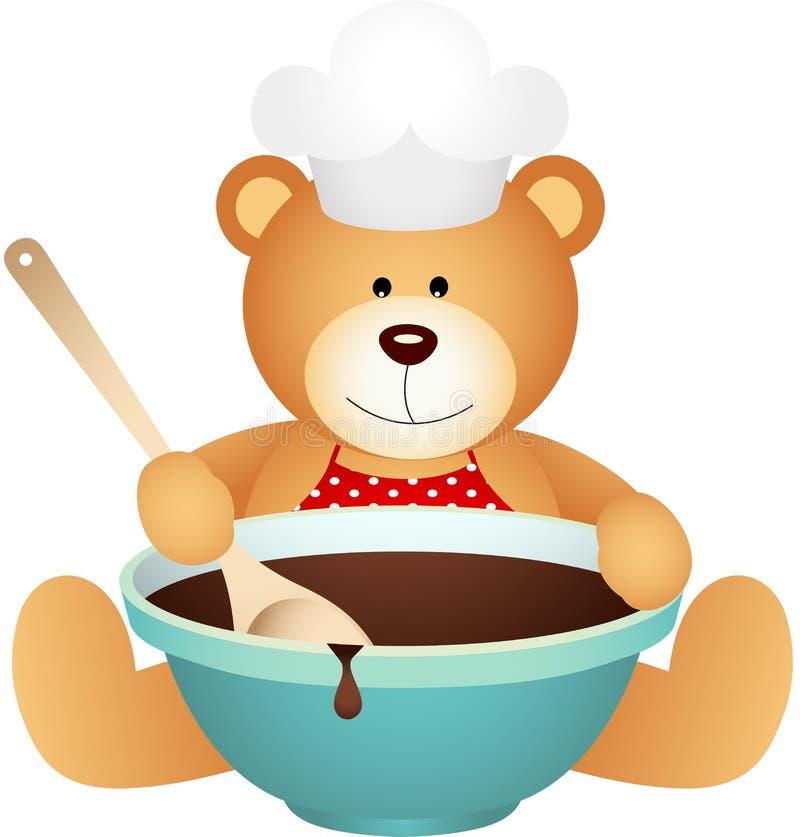 Kucbarski miś z pucharem czekolada ilustracji