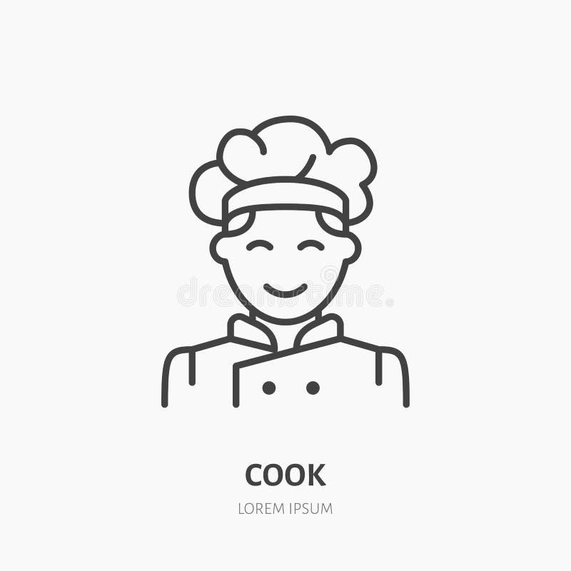 Kucbarski płaski logo, kreskowa ikona Uśmiechnięta szefa kuchni wektoru ilustracja Znak męska kuchenka ilustracja wektor