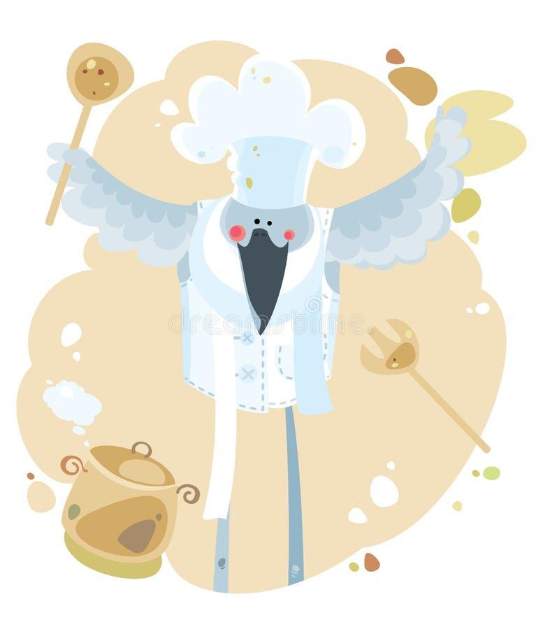 Kucbarski ptak z kopyścią i niecką ilustracji