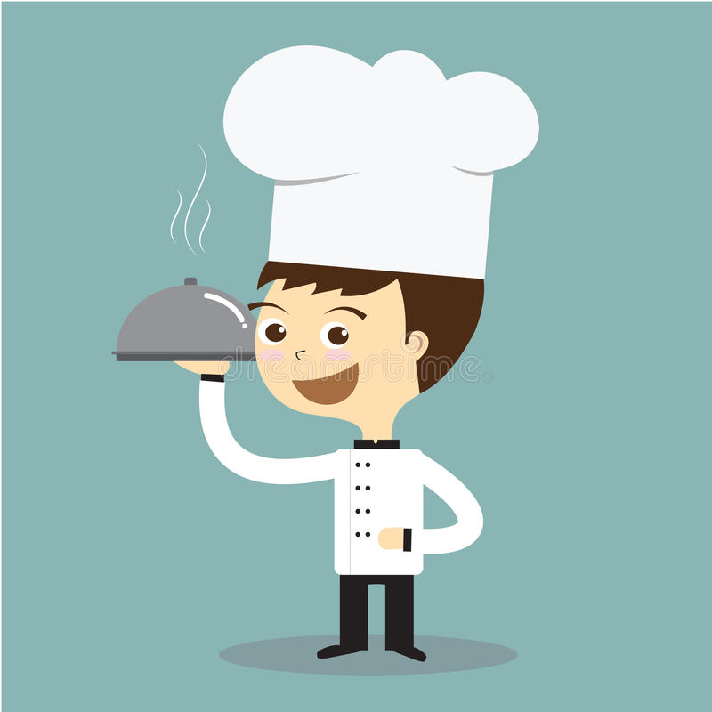 Kucbarski szef kuchni trzyma gorącego talerza z dymienie wektorem ilustracji