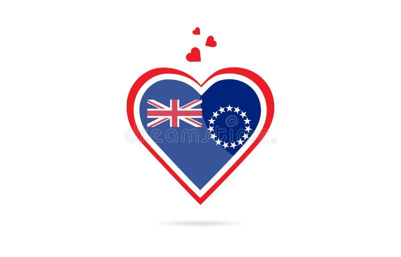 Kucbarskich wysp kraju flaga wśrodku miłość logo kierowego kreatywnie projekta ilustracji