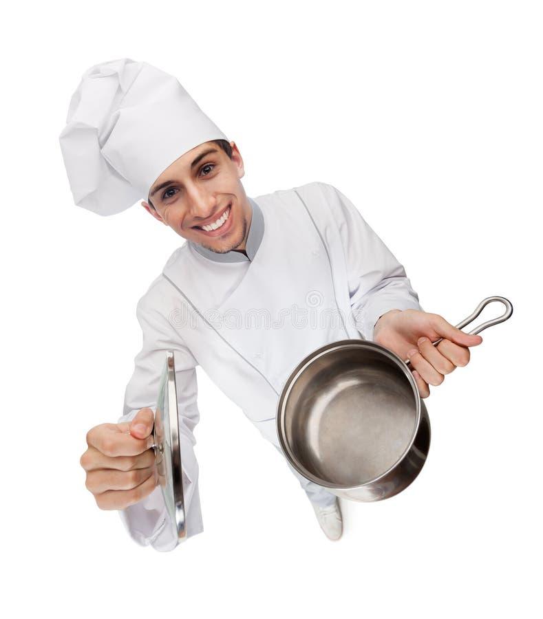 Kucbarskie szef kuchni ręki gulasz rozpieczętowana niecka zdjęcia stock