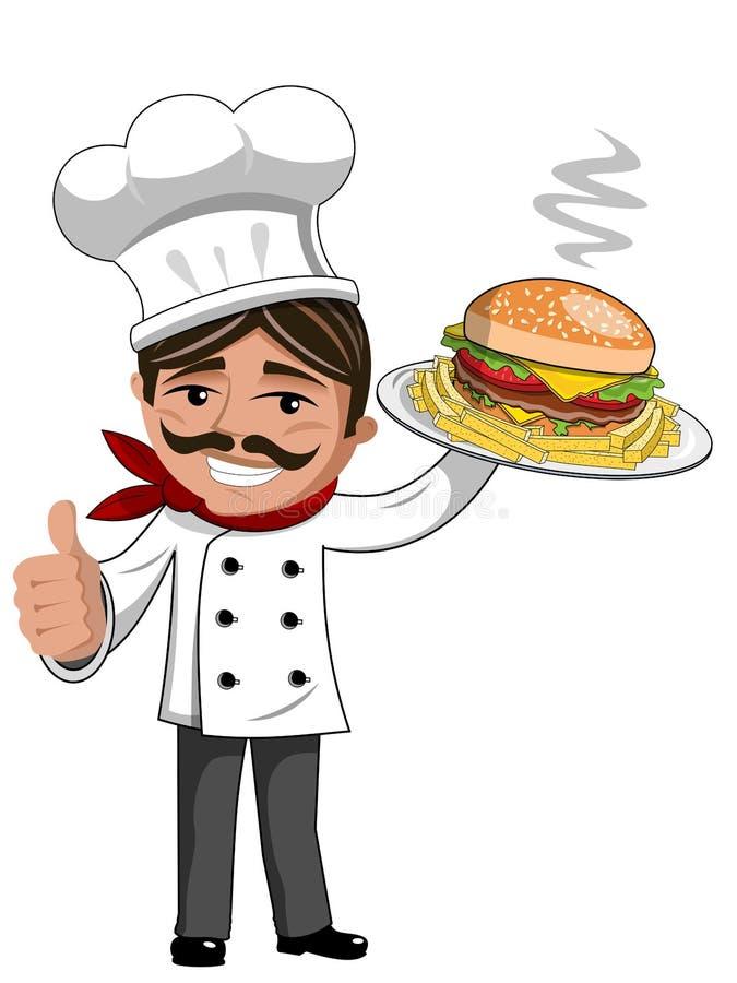 Kucbarskiego porcja hamburgeru francuscy dłoniaki matrycują kciuk up odizolowywającego ilustracja wektor