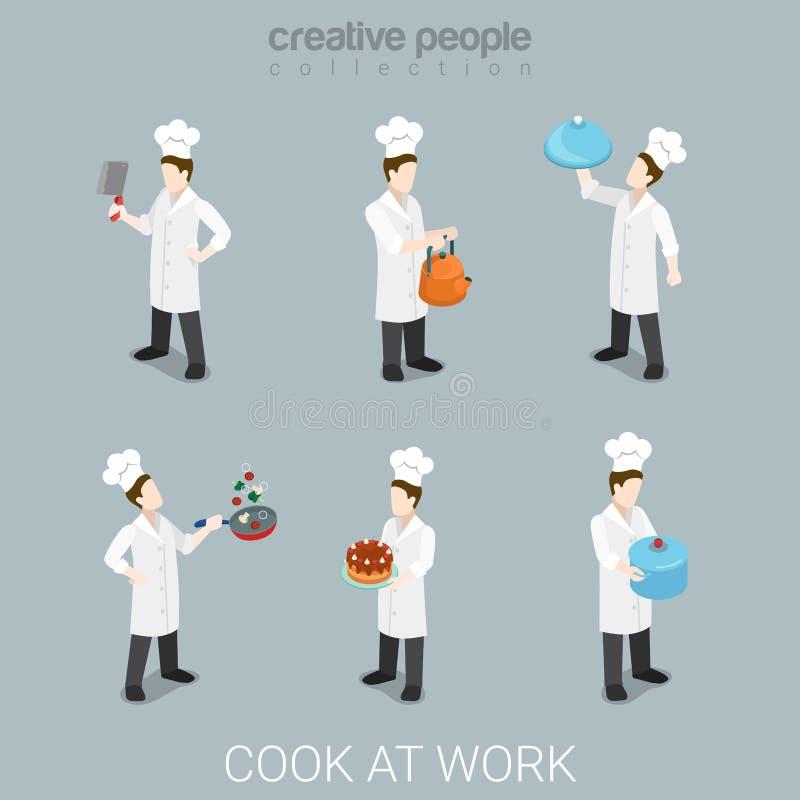 Kucbarskiej pracy kucharstwa naczelny mundur wytłacza wzory mieszkania 3d isometric wektor royalty ilustracja
