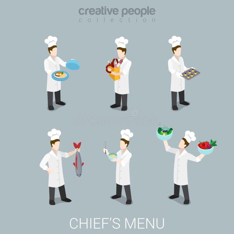 Kucbarskiej pracy kucharstwa naczelny mundur wytłacza wzory mieszkania 3d isometric wektor ilustracja wektor