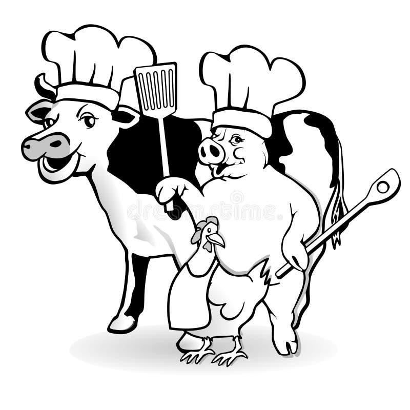 kucharstwa zwierzęcy gospodarstwo rolne ilustracja wektor