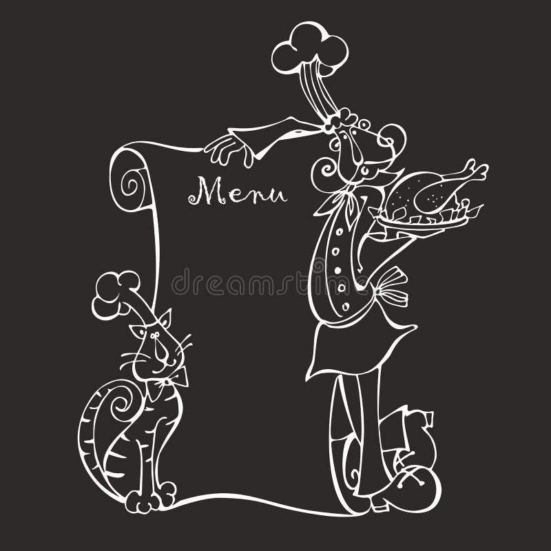 kucharz chef menu kot Kredowa deska Menu dla kawiarni Projekta pojęcie kreskówka wektor ilustracja wektor