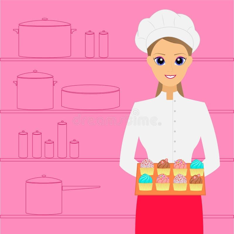 kucharz Kobieta piekarz z tortami ilustracja wektor