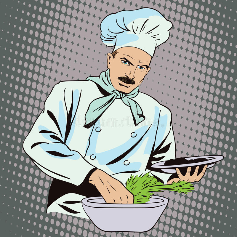 Kucharz przygotowywa jedzenie ilustracja wektor