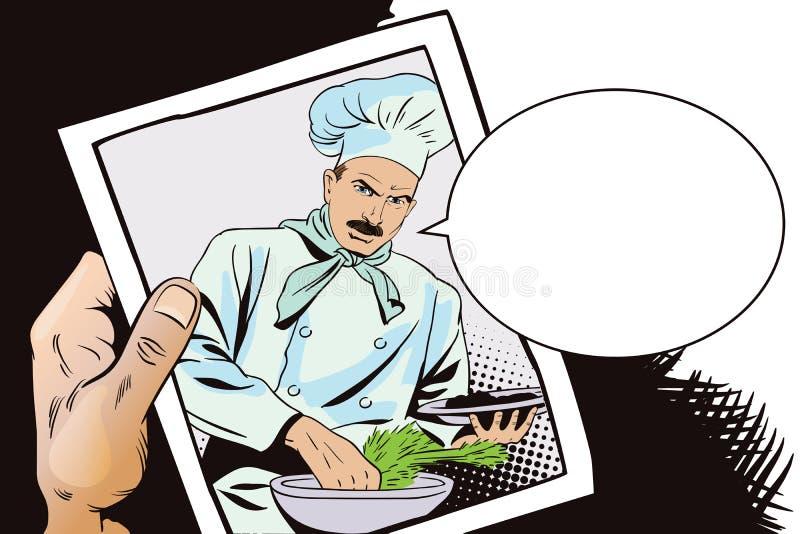 Kucharz przygotowywa jedzenie ilustracji