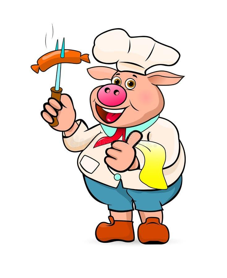 Kucharz przygotowywa wyśmienicie grill kiełbasy ilustracji
