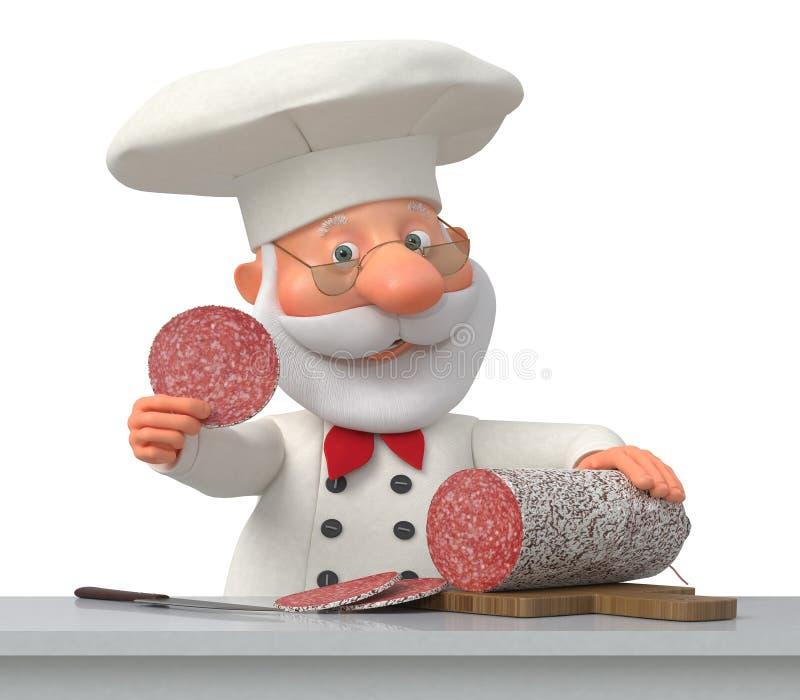 Kucharz w kuchni z kiełbasą ilustracja wektor