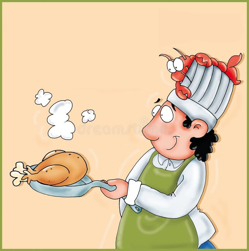 Kucharz w niecce z kurczakiem i homarem w kierowniczym kolor ilustraci humoryście ilustracji