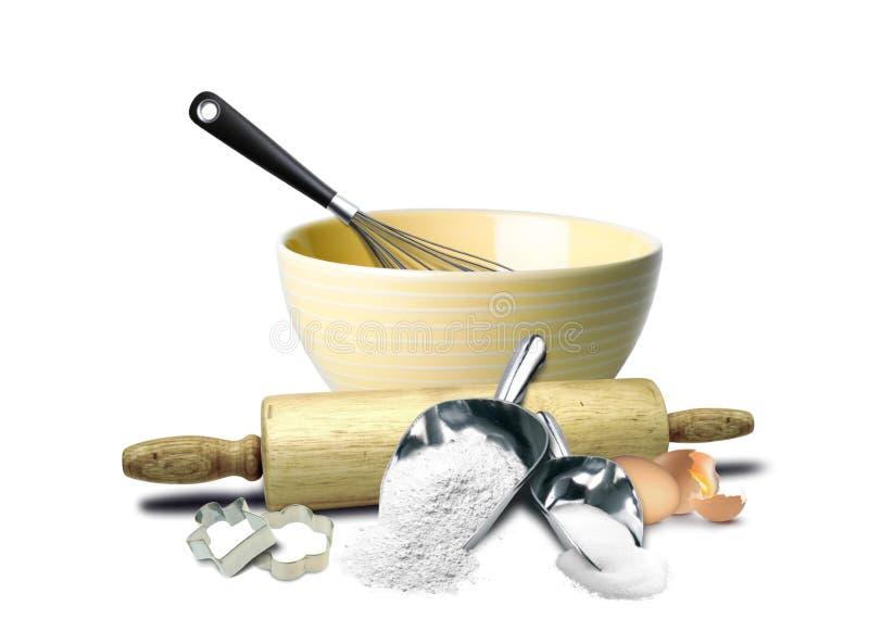 Kuchen-Backen-Vorbereitungs-Werkzeuge lizenzfreie stockbilder