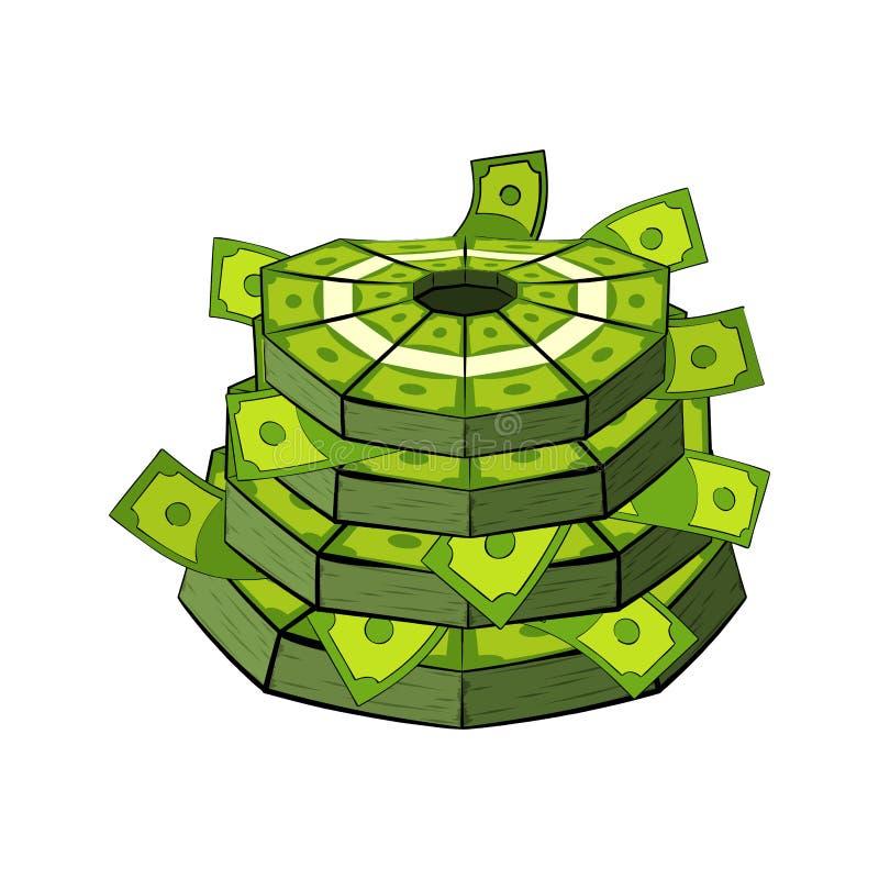 Kuchen des Geldes Bargeld als festlicher Kuchen Bündel Geld Behandelt FO stock abbildung